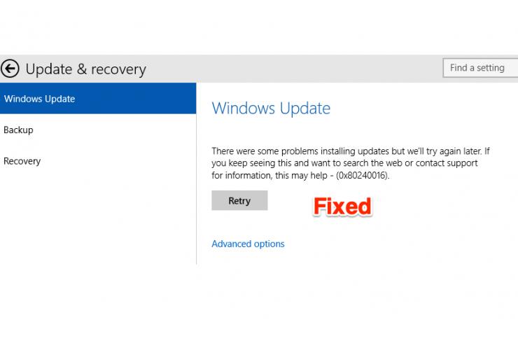 0x80240016 Windows Update Error Code Fix