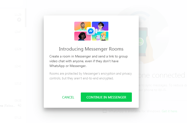 1. WhatsApp Web - Create Room - Continue in Messenger