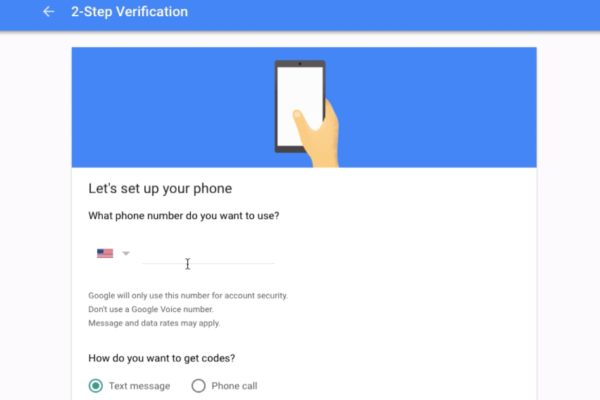 2-Step Verification Enter Phone Number