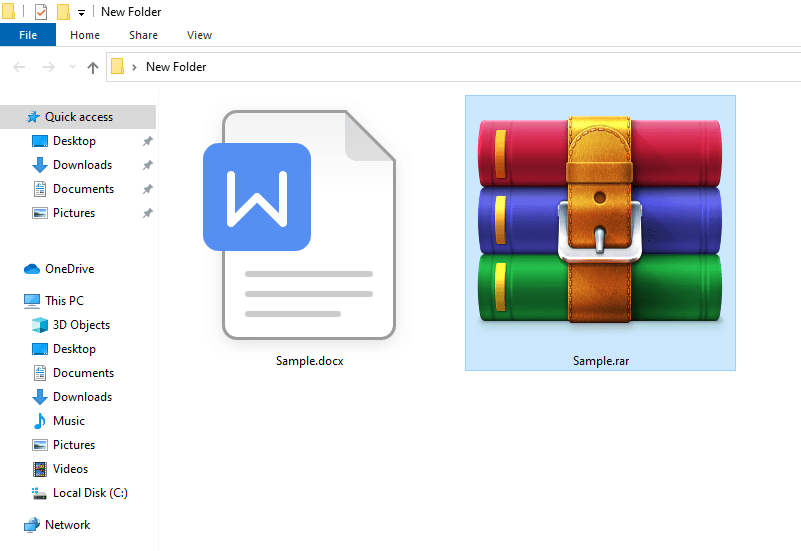 A new compressed file is created containing the contents