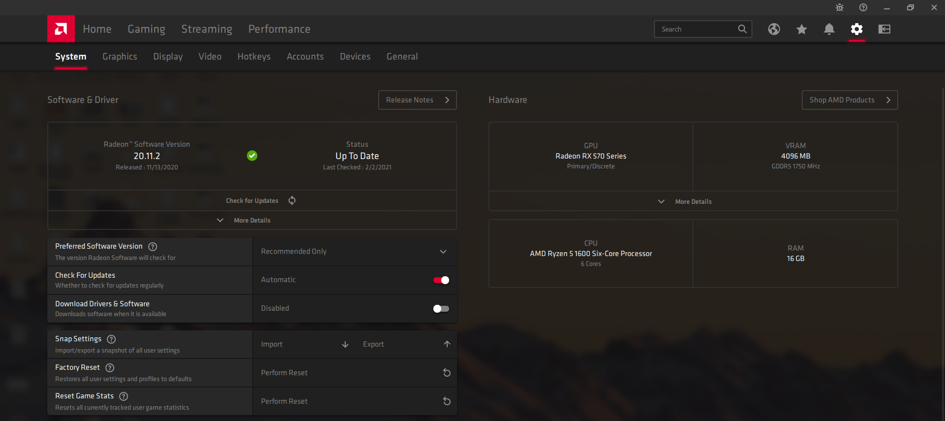 AMD Control Panel Update