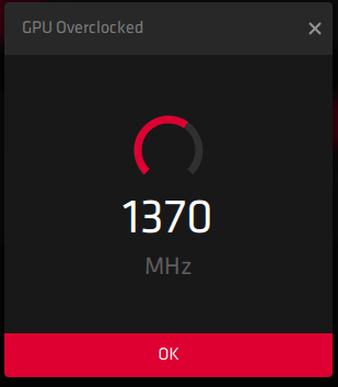 """AMD will overclock a certain part of the GPU and click on """"OK"""" to finalize the setting"""