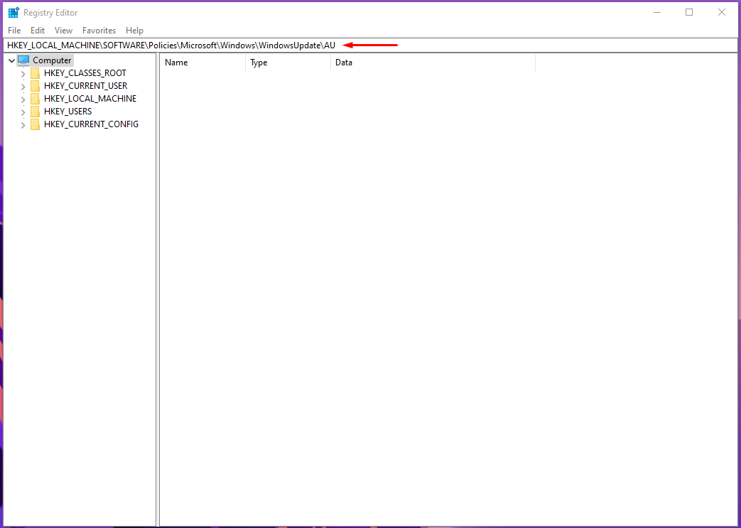 location in the registry editor