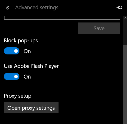 Enable or Disable Adobe Flash Player Microsoft Edge