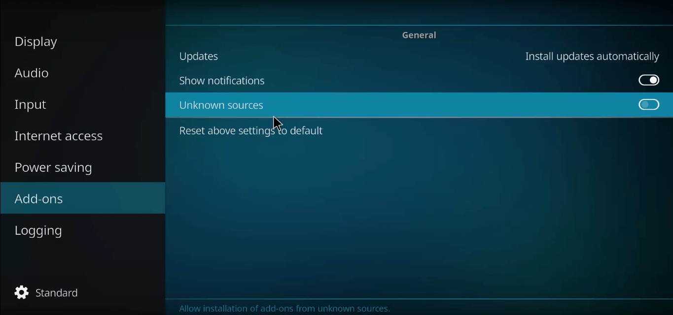 Allow Installation from Unknown Sources Kodi Krypton 17.0+