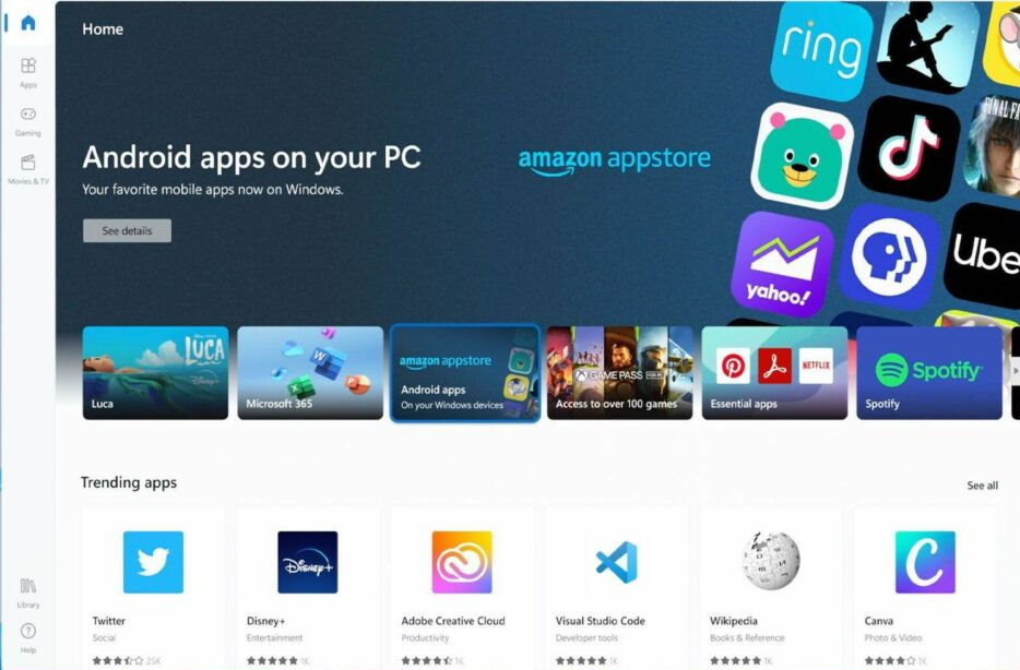 Android Apps for windows 11