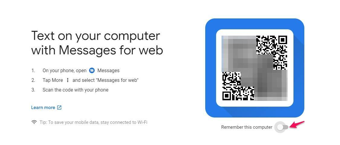 Android messages web login