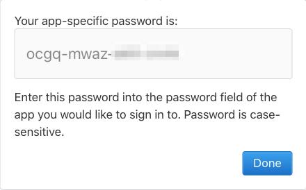 App Specific Password is Generated