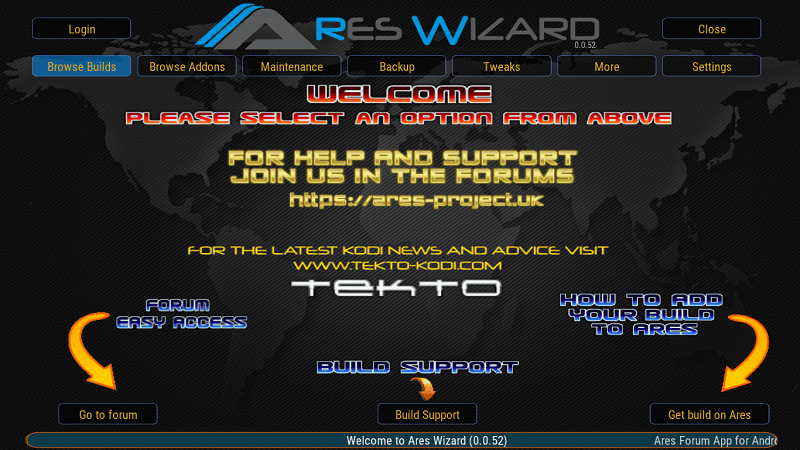 Ares Wizard Homepage