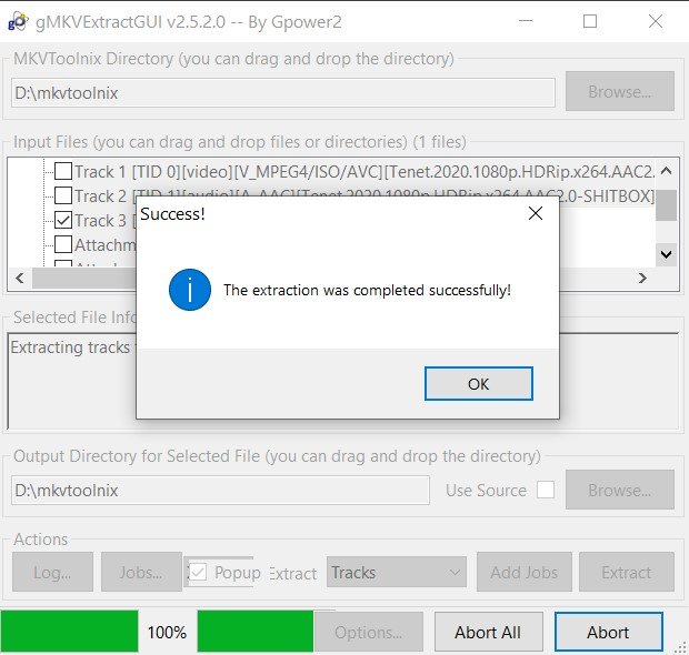 As soon as the extraction is complete, you shall be notified of the same. You could then access this SRT subtitle file from your working directory