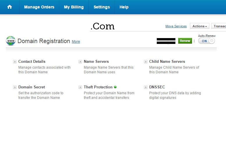 BigRock Manage Domain