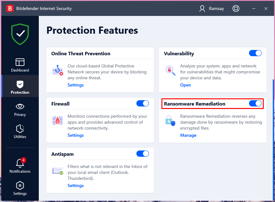 Bitdefender developed a dedicated function to prevent ransomware malware from entering the machine and remove it if there are any