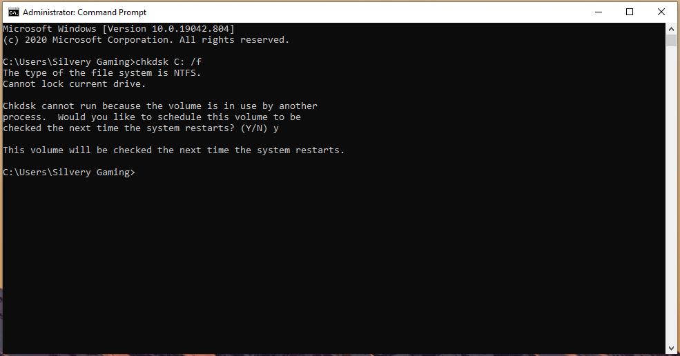 CHKDSK Scanner - Restart the Windows machine