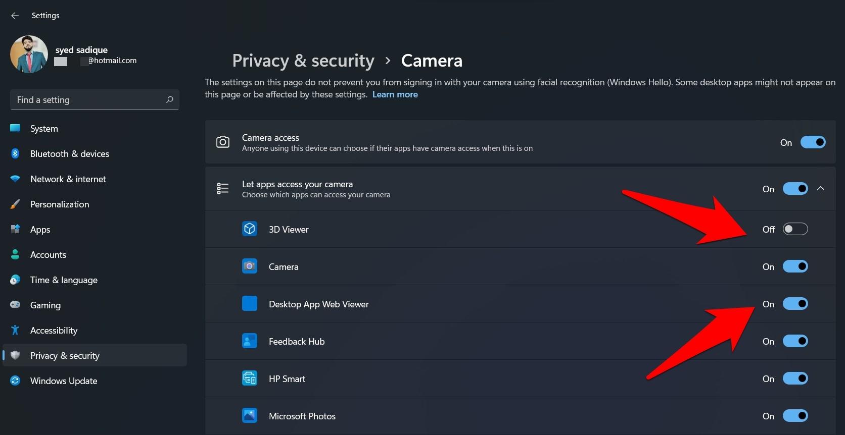 Camera Access Individual Apps