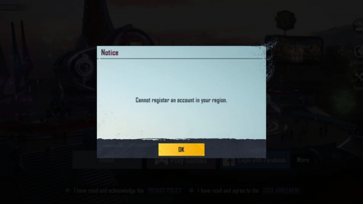 Cannot Register an Account in your Region fix pubg mobile kr version