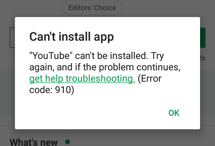 Cant install app play store error