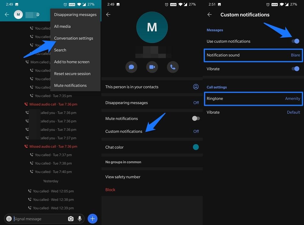 Change Signal Notification Sound Custom Chat