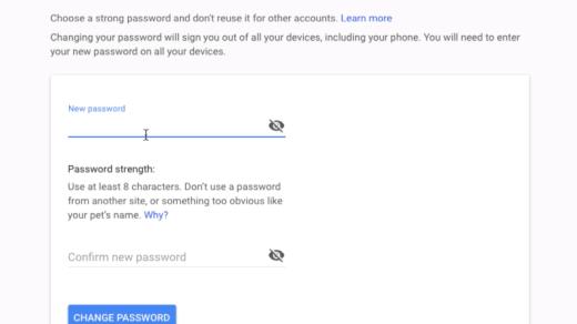 Change Gmail Password in Google Account