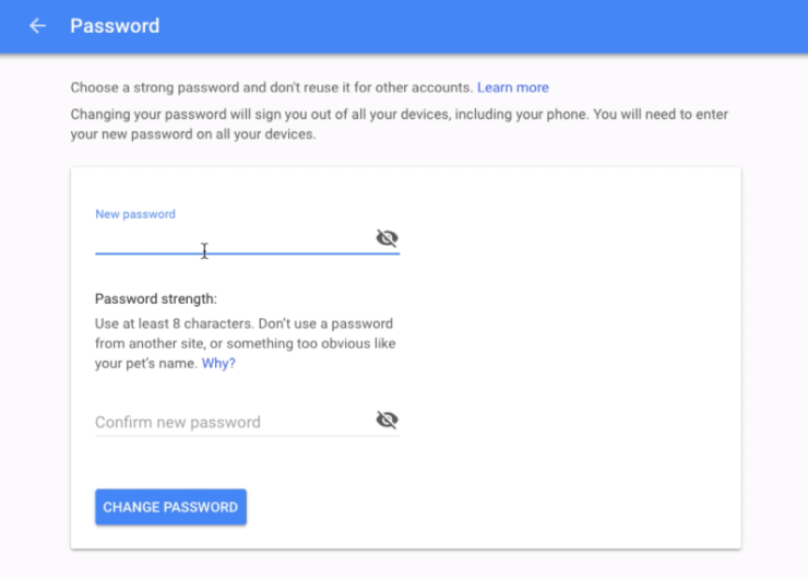 Change Gmail Password in Google Account