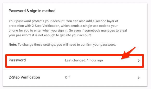Change Password Option in Google Account