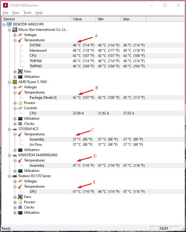 Check Temperature of Windows PC