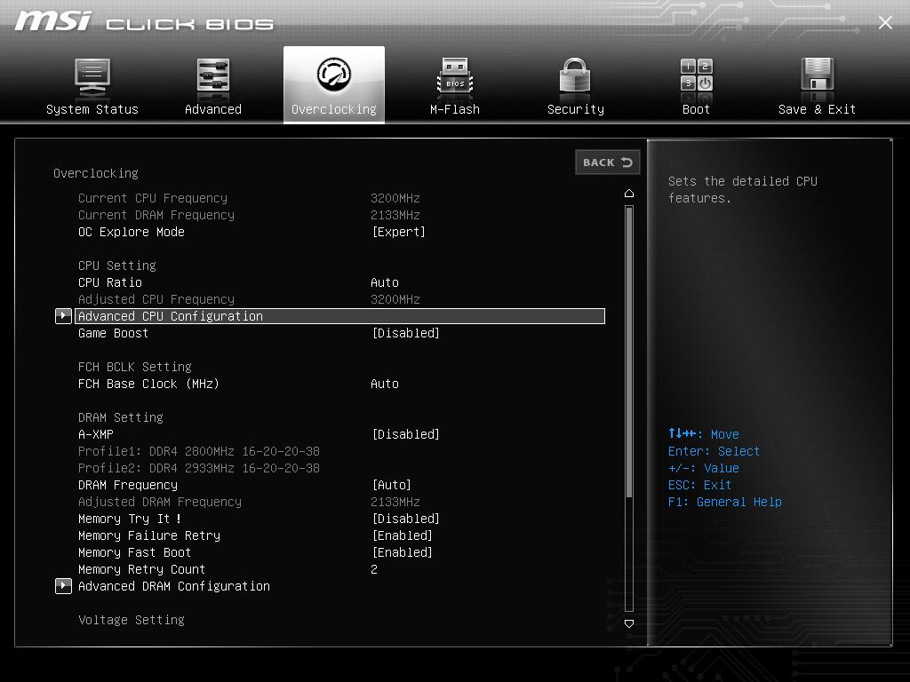 """Choose """"Advanced CPU Configuration"""" or """"CPU Features"""" located at the bottom"""