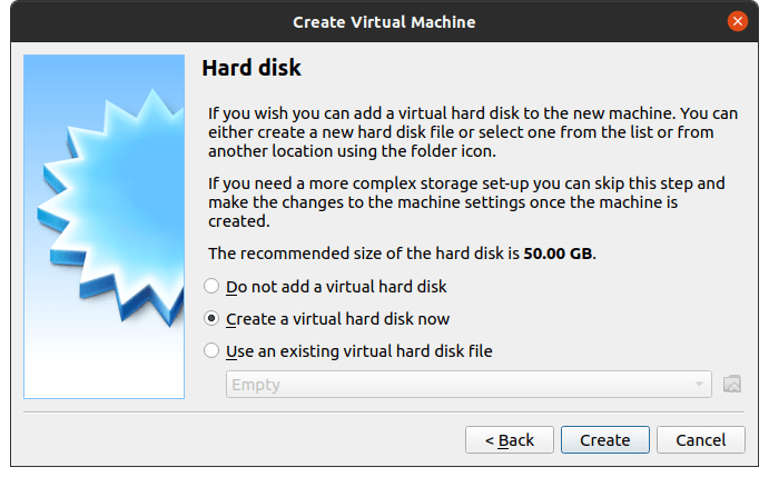 """Choose """"Create a virtual hard disk now"""" and then click on """"Create"""" to continue"""