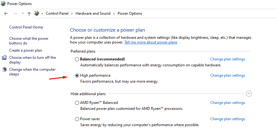 """Choose """"High performance"""" to confirm the changes"""