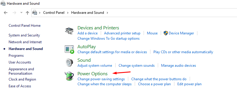 """Choose """"Power Options"""" to continue"""