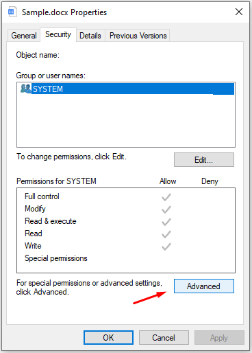 """Choose """"Security"""" and click on """"Advanced"""" to continue"""