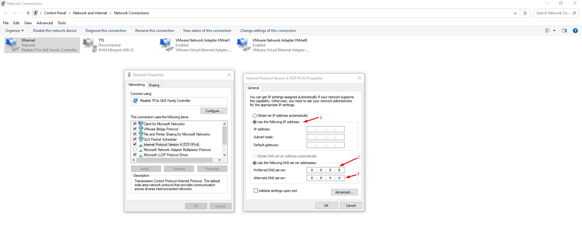 "Choose ""Use the following IP address"""
