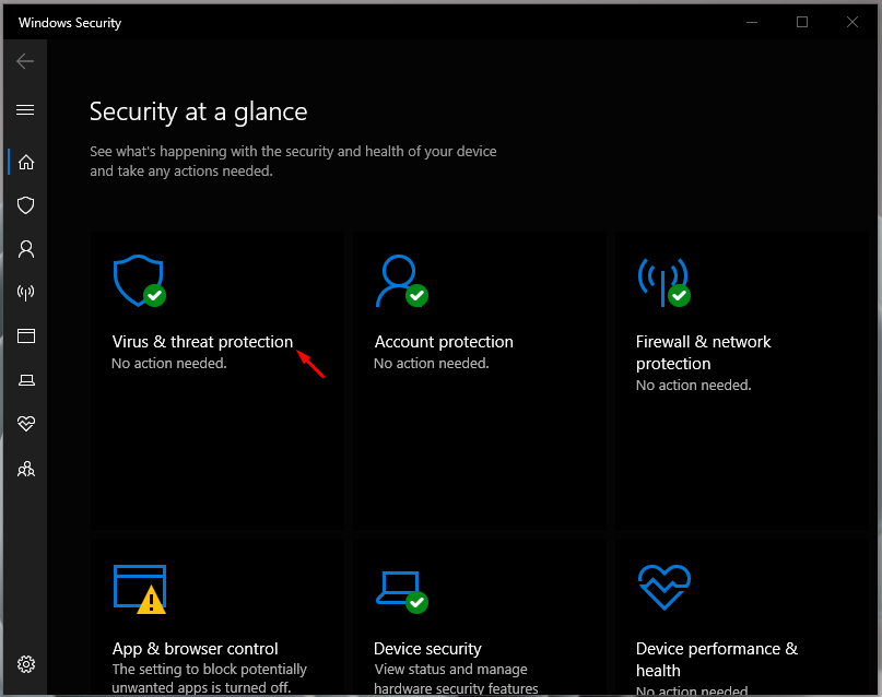 """Choose """"Virus & threat protection"""" to explore more options"""