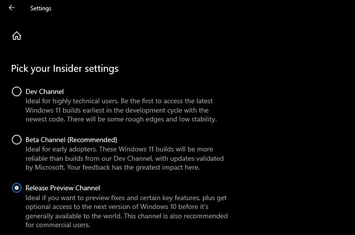 "Choose ""Dev Channel"" or ""Beta Channel."