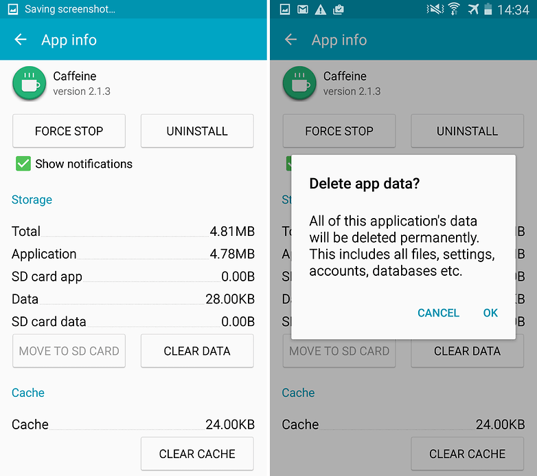 Clear App data and cache