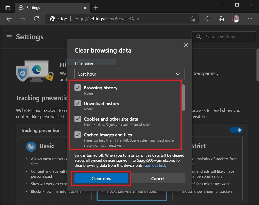 Clear Data, Cache and Cookies for Edge