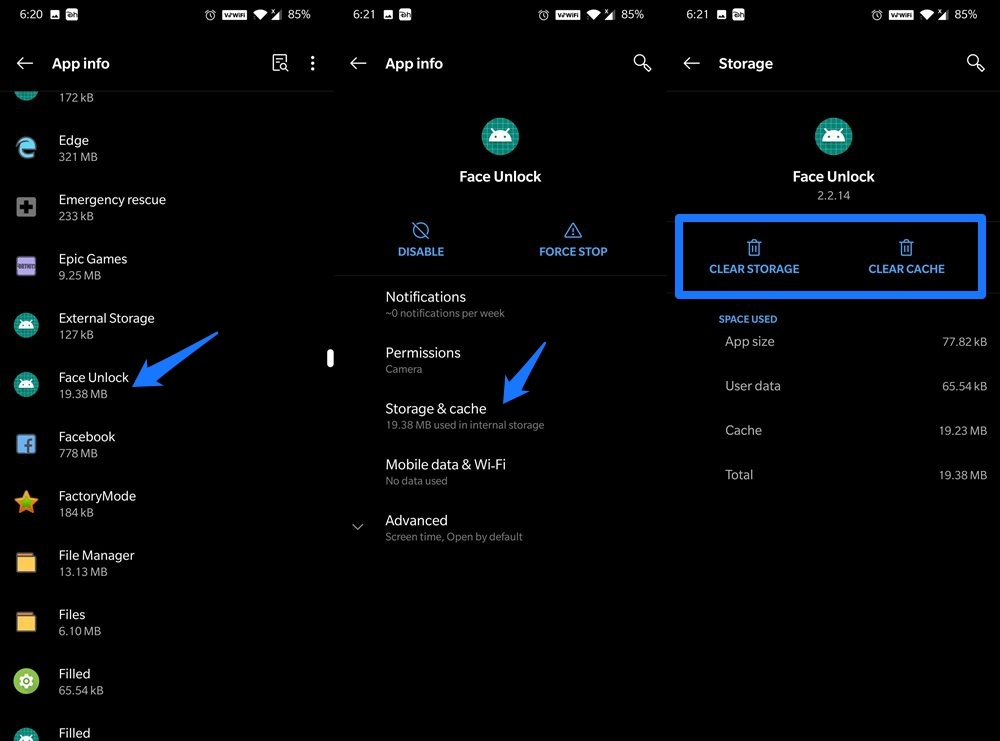 Clear Data & Cache of Face Unlock