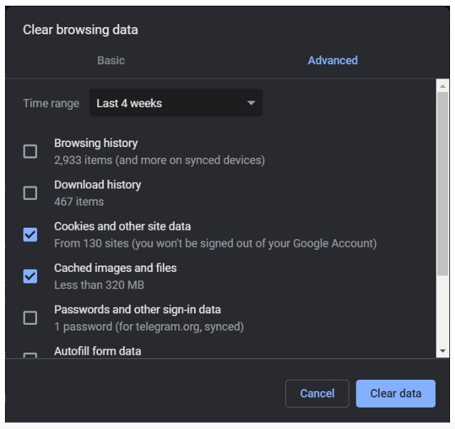 Clear data and cache Chrome
