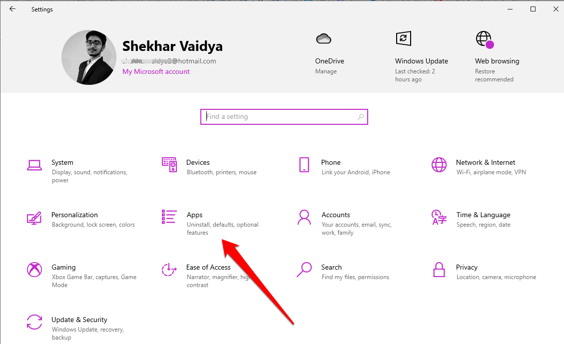 Click Apps on Windows Settings