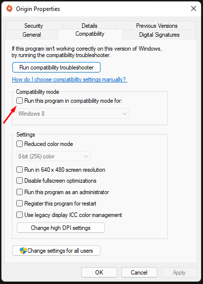 """Click on """"Compatibility Mode"""" to enable it"""