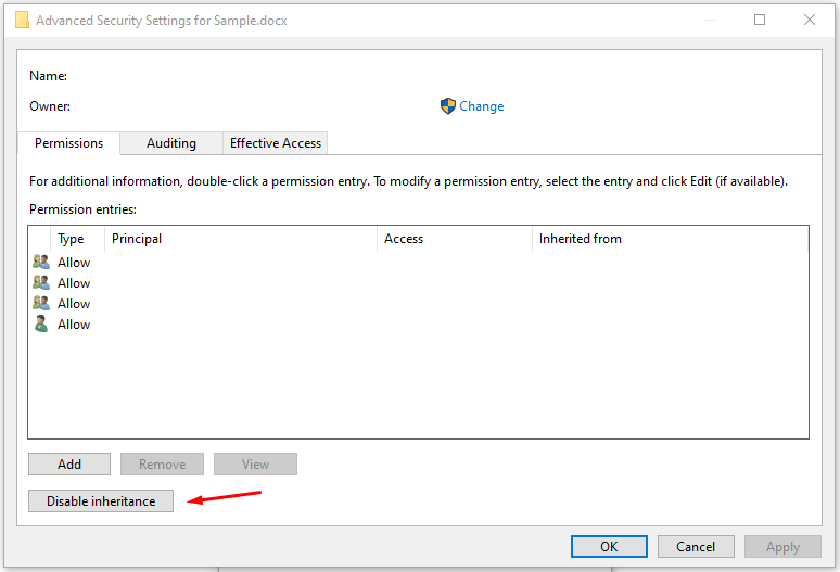 """Click on """"Disable inheritance"""" to continue"""