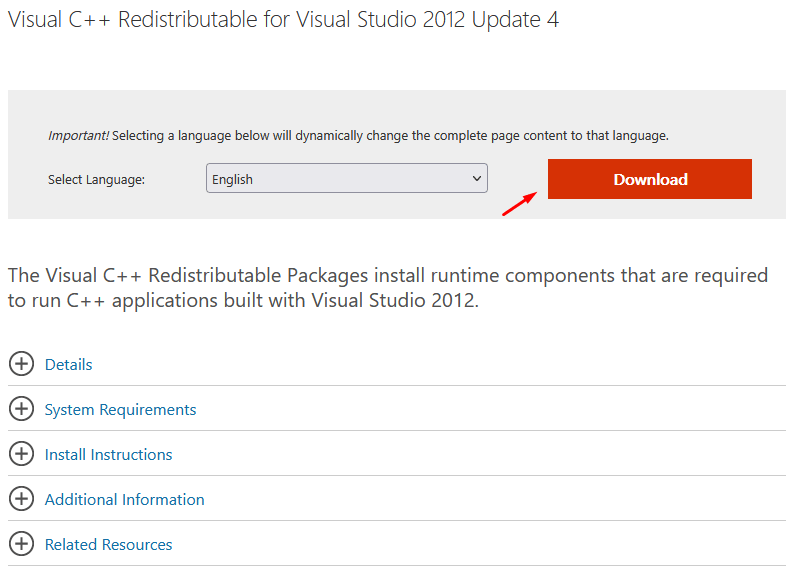 """Click on """"Download"""", and you should download the packages from the official Microsoft site."""