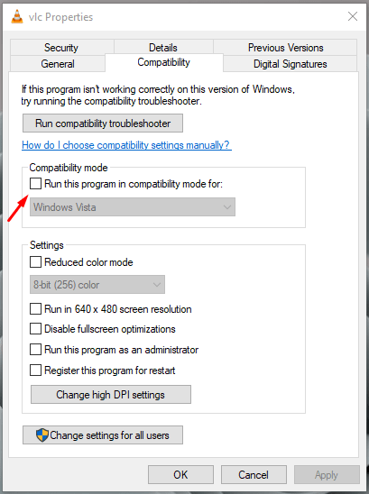 """Click on """"Run this program in compatibility mode for"""" to continue"""