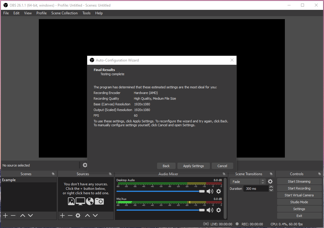 """Click on """"Settings"""" located at the bottom left side to open the advanced OBS settings"""