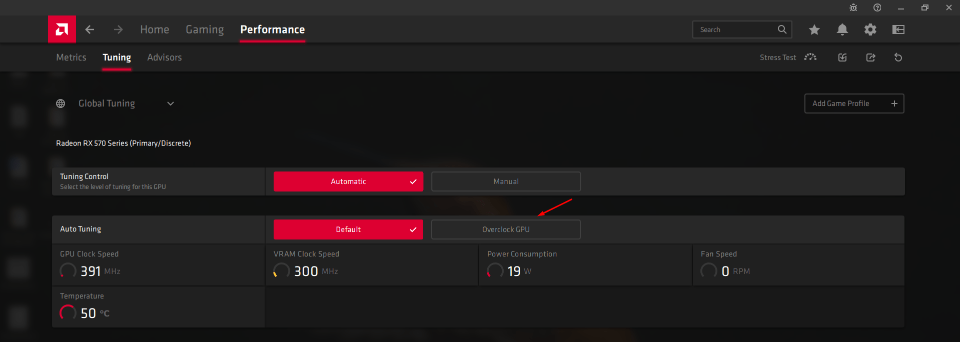 "Click on the ""Overclock GPU"" option"