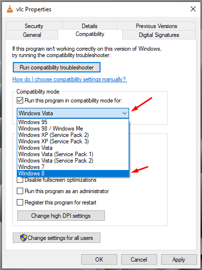 Click on the drop-down menu to choose an operating system, where the program worked correctly