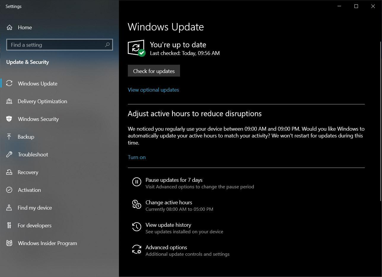 Click the Windows icon and search for Update