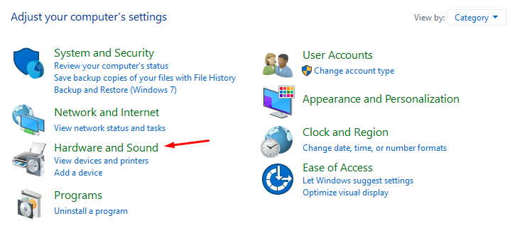 """Click on """"Hardware and Sound"""" to continue"""