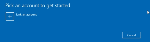 """Click on """"Link an account,"""" and if you have connected a Microsoft account before, then it will show up here."""