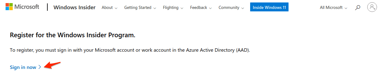 """Click on """"Sign in now,"""" and this will use your existing Windows account"""