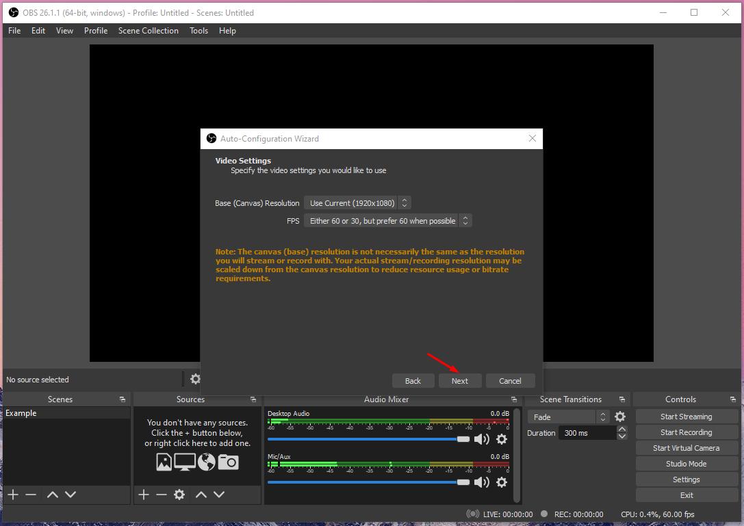 Configure Video Setting